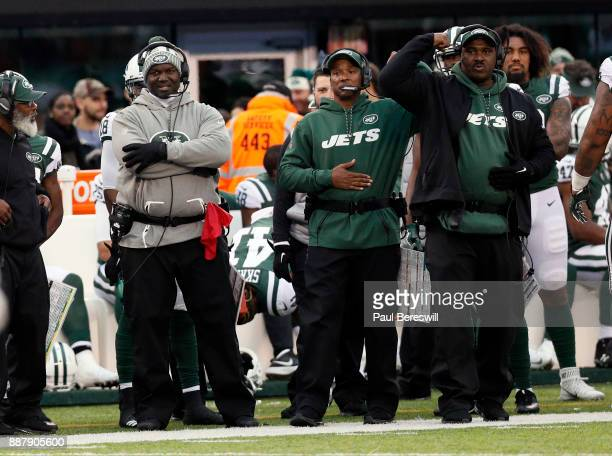 Head Coach Todd Bowles of the New York Jets watches in an NFL football game against the Kansas City Chiefs on December 3 2017 at MetLife Stadium in...