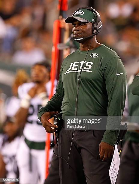 Head coach Todd Bowles of the New York Jets watches the action from the sidelines during the second quarter of an NFL preseason game at MetLife...