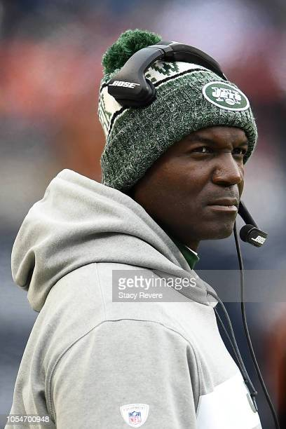 Head coach Todd Bowles of the New York Jets watches the action against the Chicago Bears at Soldier Field on October 28 2018 in Chicago Illinois