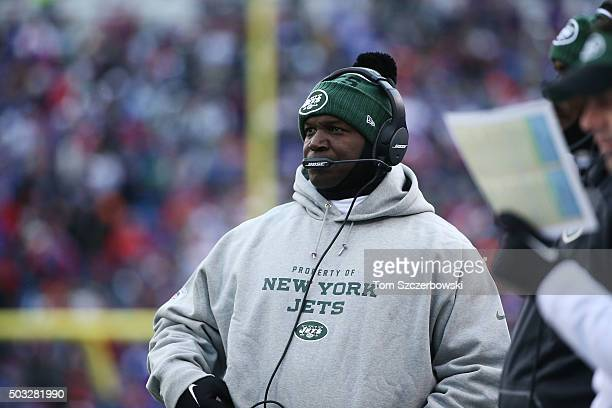 Head Coach Todd Bowles of the New York Jets works the sidelines against the Buffalo Bills during the first half at Ralph Wilson Stadium on January 3...