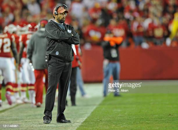 Head coach Todd Haley of the Kansas City Chiefs looks on during a game against the San Diego Chargers on October 31 2011 at Arrowhead Stadium in...
