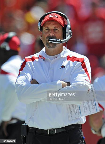 Head coach Todd Haley of the Kansas City Chiefs looks out onto the field against the Buffalo Bills during a game on September 11 2011 at Arrowhead...