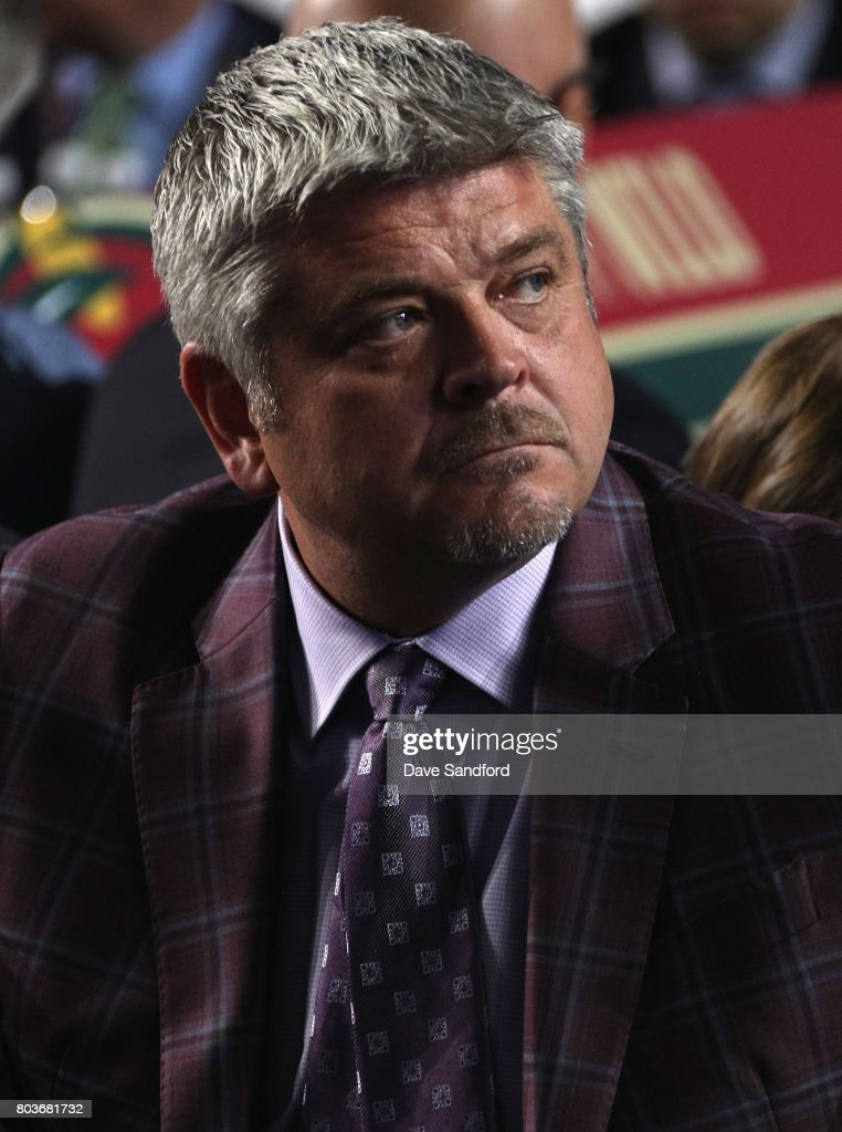 Head coach Todd McClellan of the Edmonton Oilers looks on during Round One of the 2017 NHL Draft at United Center on June 23, 2017 in Chicago, Illinois.