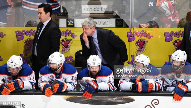 Head coach Todd McLellan of the Edmonton Oilers watches Game Seven of the Western Conference Second Round against the Anaheim Ducks during the 2017...