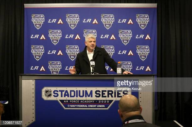Head coach Todd McLellan of the Los Angeles Kings speaks to the media after the 2020 NHL Stadium Series game between the Los Angeles Kings and the...