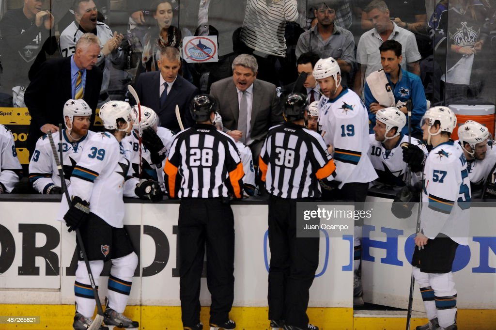 Head Coach Todd McLellan of the San Jose Sharks talks to the officials during the game against the Los Angeles Kings in Game Six of the First Round of the 2014 Stanley Cup Playoffs at Staples Center on April 28, 2014 in Los Angeles, California.