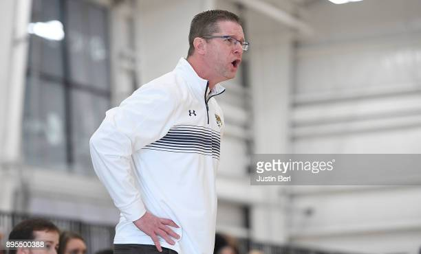 head coach Todd Starkey of the Kent State Golden Flashes reacts to a call in the second half during the game against the Robert Morris Colonials at...