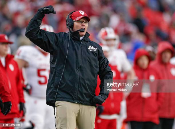 Head coach Tom Allen of the Indiana Hoosiers is seen during the game against the Purdue Boilermakers at Ross-Ade Stadium on November 30, 2019 in West...