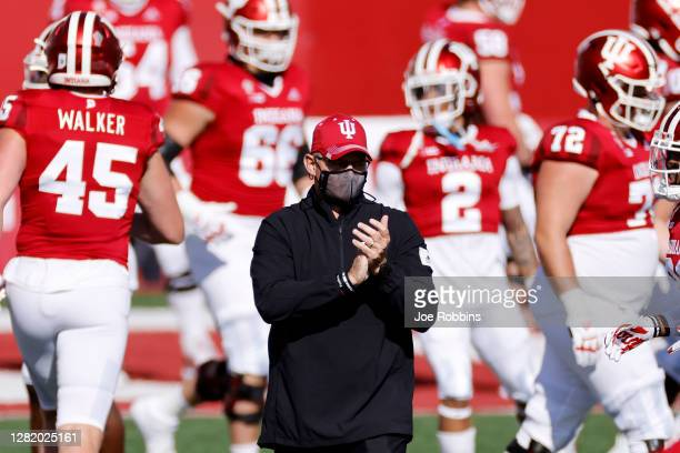 Head coach Tom Allen of the Indiana Hoosiers looks on before a game against the Penn State Nittany Lions at Memorial Stadium on October 24, 2020 in...