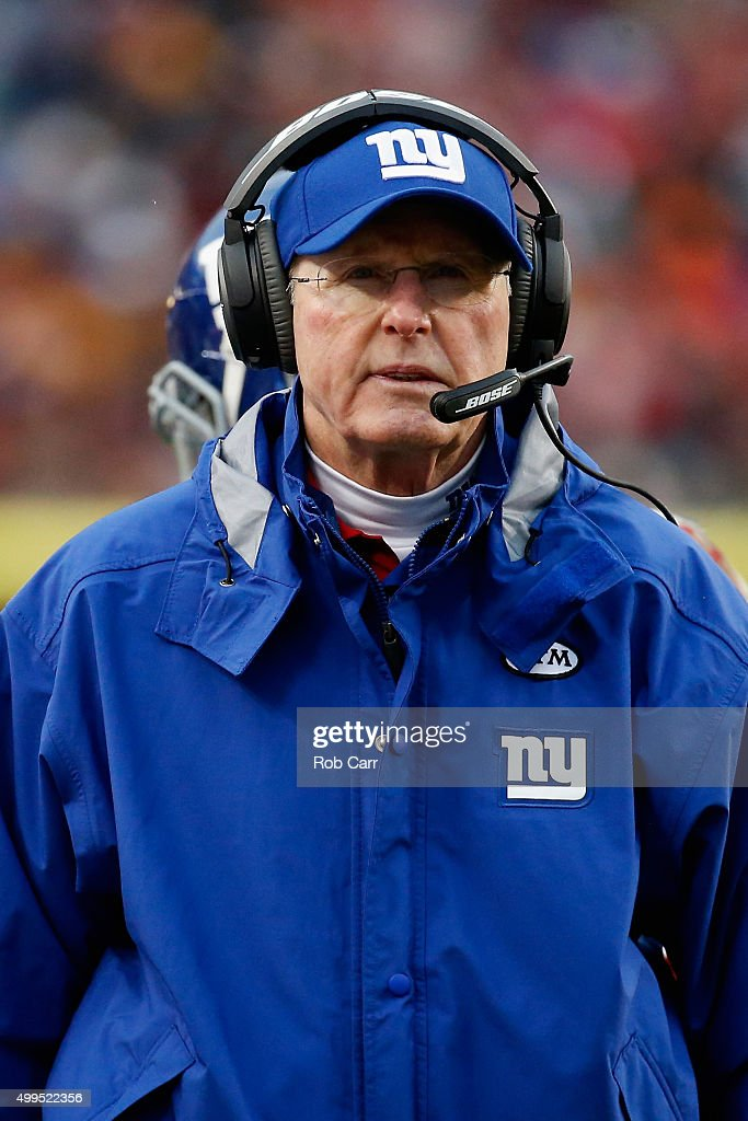 Head coach Tom Coughlin of the New York Giants looks on against the Washington Redskins at FedExField Stadium on November 29, 2015 in Landover, Maryland.