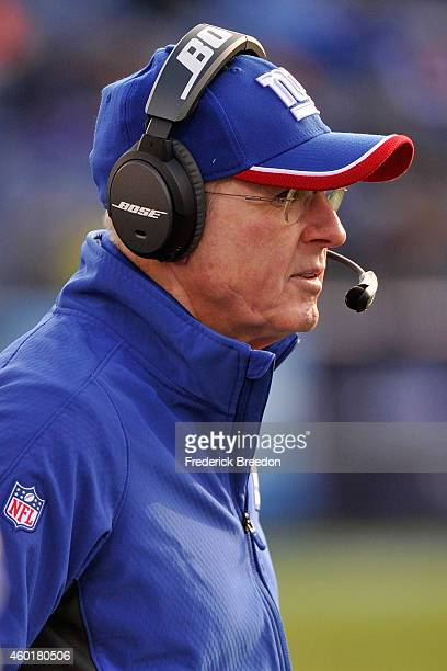 Head coach Tom Coughlin of the New York Giants watches from the sideline during the second half of a game at LP Field on December 7 2014 in Nashville...