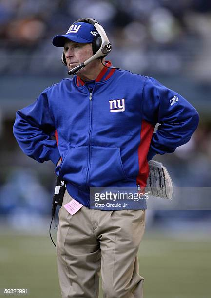 Head coach Tom Coughlin of the New York Giants watches the action from the sideline during the game against the Seattle Seahawks at Qwest Field on...