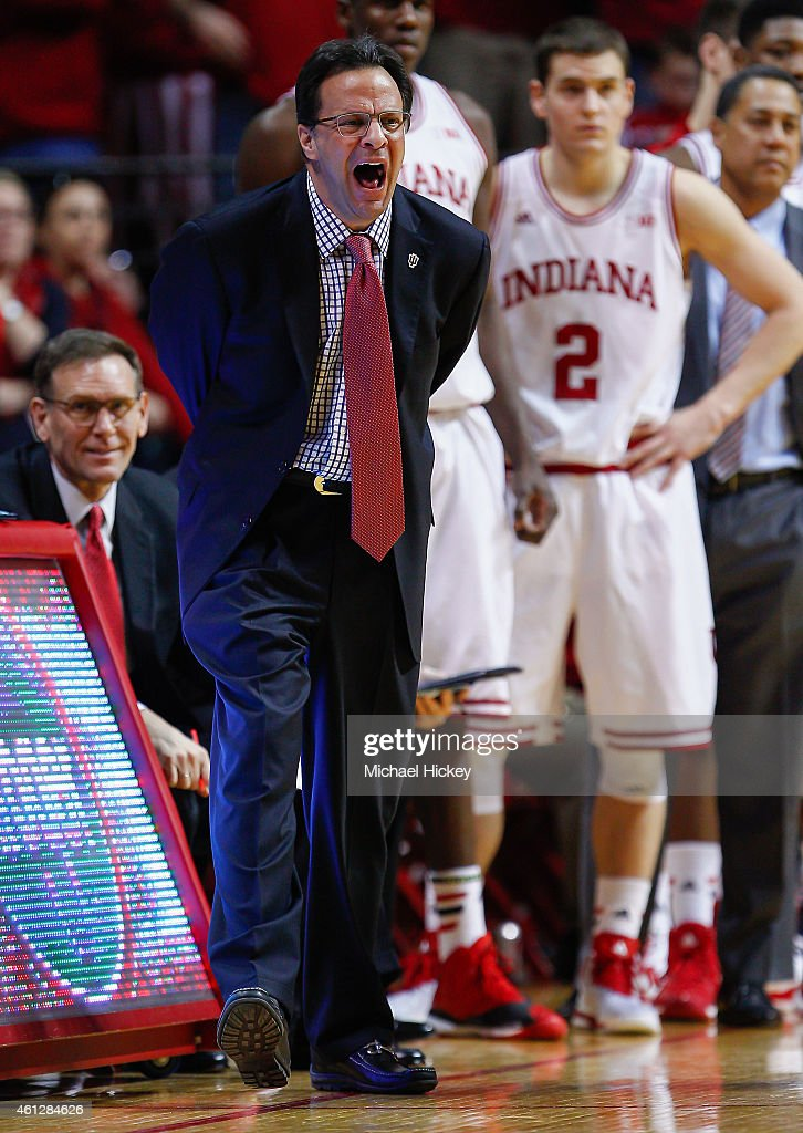 Head coach Tom Crean of the Indiana Hoosiers is seen during the game against the Ohio State Buckeyes at Assembly Hall on January 10, 2015 in Bloomington, Indiana. Indiana defeated Ohio State 69-66.