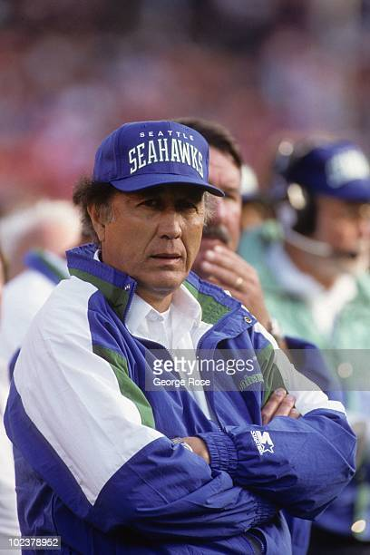 Head coach Tom Flores of the Seattle Seahawks looks on during the exhibition game against the San Francisco 49ers at Candlestick Park on August 28...