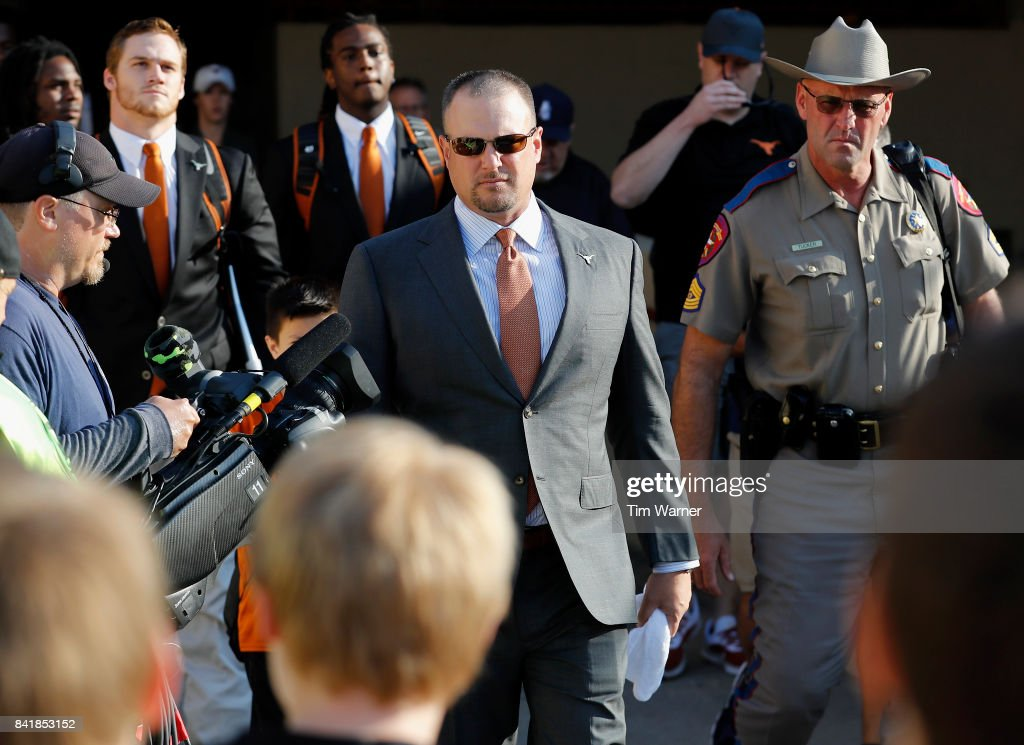Head coach Tom Herman of the Texas Longhorns walks into the stadium before the game against the Maryland Terrapins at Darrell K Royal-Texas Memorial Stadium on September 2, 2017 in Austin, Texas.