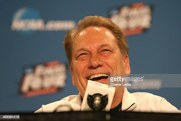 Head coach Tom Izzo of the Michigan State addresses the media during a press conference before the 2015 NCAA Men's Final Four at Lucas Oil Stadium on...