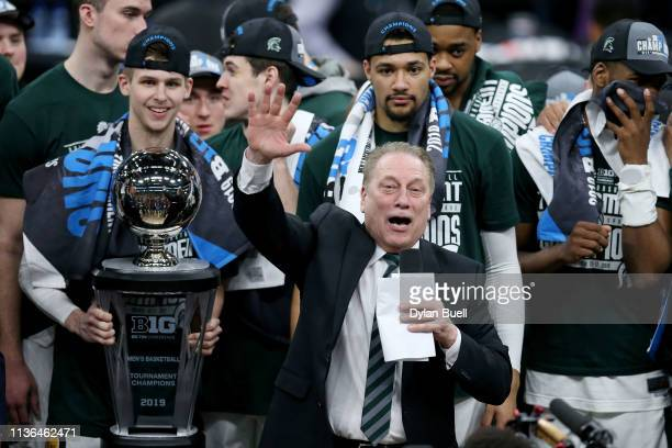 Head coach Tom Izzo of the Michigan State Spartans addresses the crowd after beating the Michigan Wolverines 65-60 in the championship game of the...
