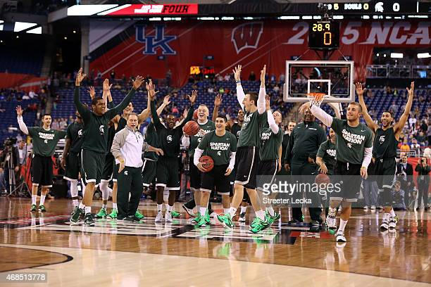 Head coach Tom Izzo of the Michigan State Spartans and his team react during practice for the NCAA Men's Final Four at Lucas Oil Stadium on April 3...