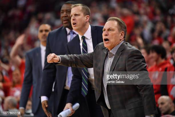 Head Coach Tom Izzo of the Michigan State Spartans asks the referees for a foul against the Ohio State Buckeyes in the second half on January 5 2019...