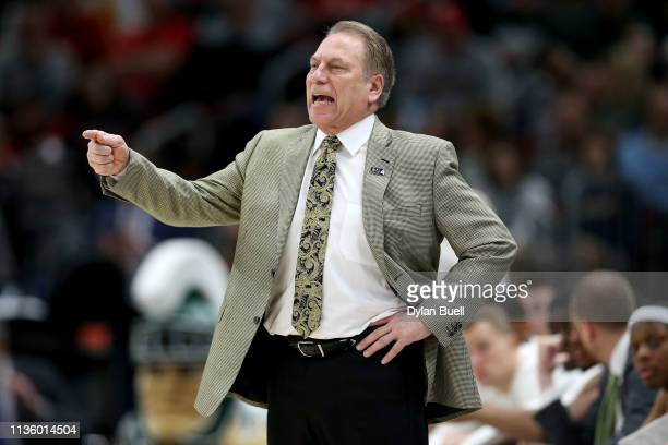Head coach Tom Izzo of the Michigan State Spartans calls out instructions in the first half against the Ohio State Buckeyes during the quarterfinals...