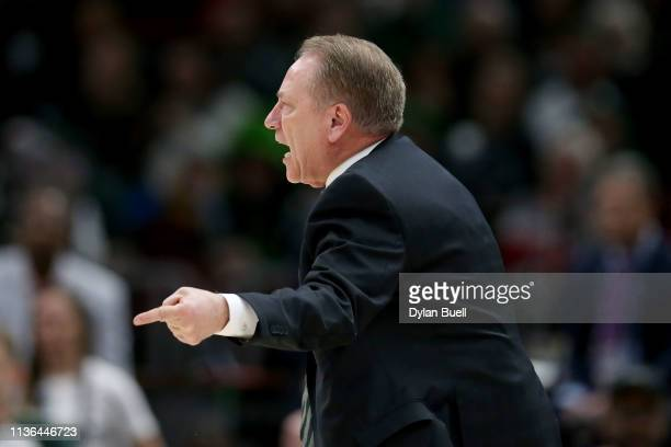 Head coach Tom Izzo of the Michigan State Spartans calls out instructions in the first half against the Michigan Wolverines during the championship...