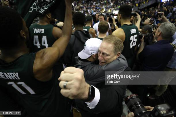 Head coach Tom Izzo of the Michigan State Spartans celebrates after defeating the Duke Blue Devils in the East Regional game of the 2019 NCAA Men's...
