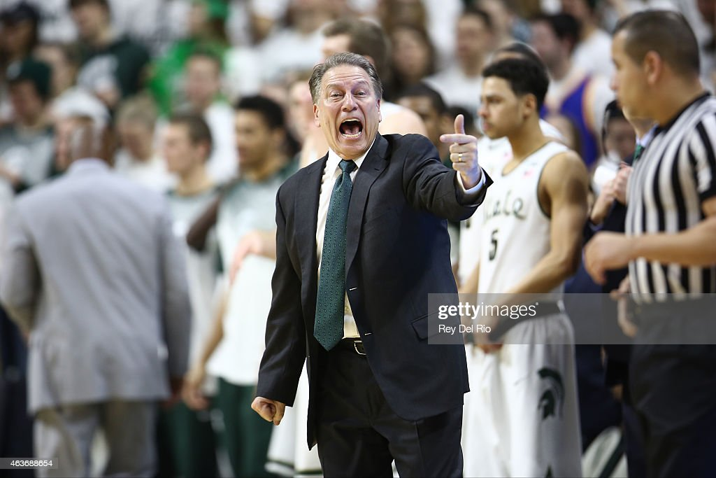 Head coach Tom Izzo of the Michigan State Spartans gives instructions to his team during the game against the Ohio State Buckeyes at the Breslin Center on February 14, 2015 in East Lansing, Michigan.