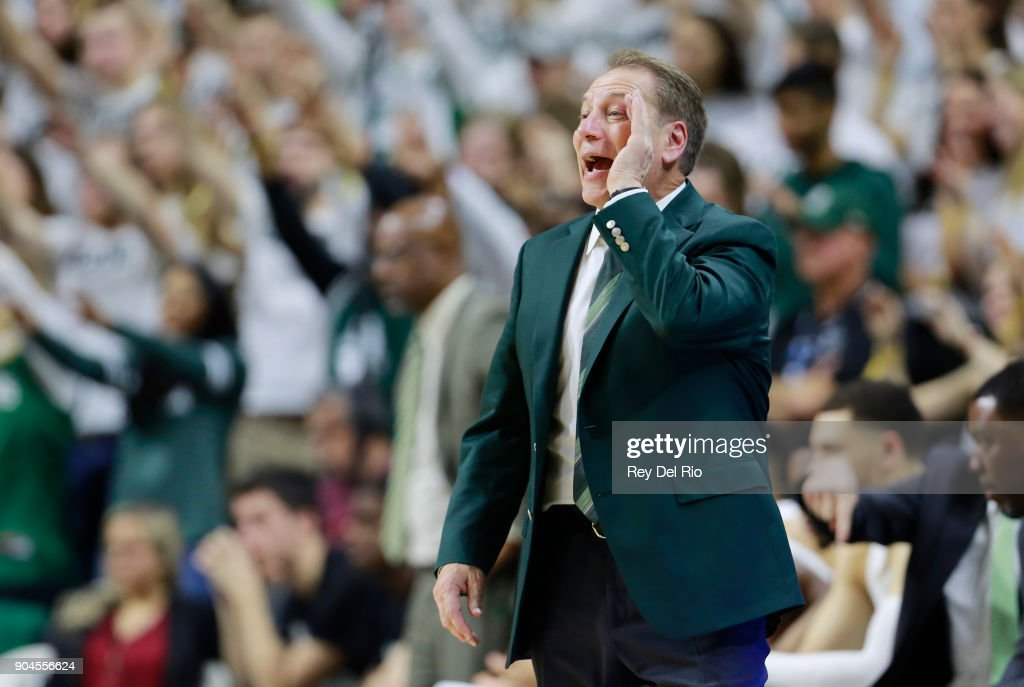 Head coach Tom Izzo of the Michigan State Spartans gives instructions to his players during a game against the Michigan Wolverines at Breslin Center on January 13, 2018 in East Lansing, Michigan.