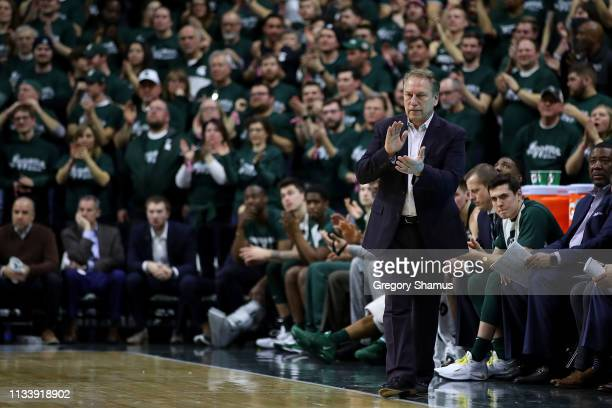 Head coach Tom Izzo of the Michigan State Spartans look on while playing the Nebraska Cornhuskers at Breslin Center on March 05 2019 in East Lansing...