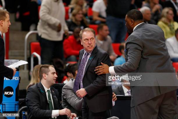 Head Coach Tom Izzo of the Michigan State Spartans looking angry during the NCAA Division I Men's Basketball Championship First Round game between...