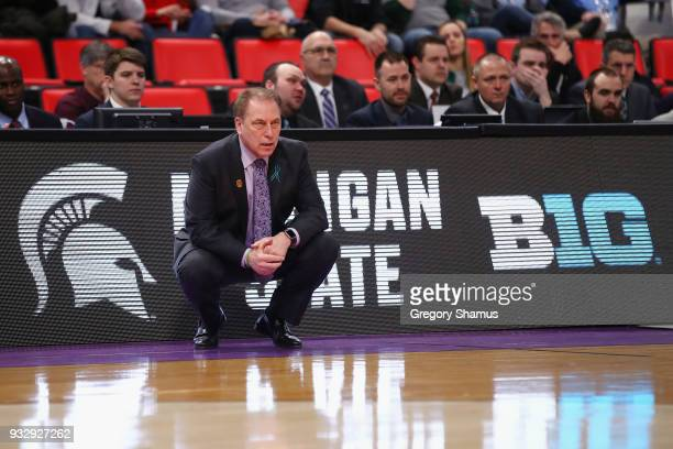 Head coach Tom Izzo of the Michigan State Spartans looks on against the Bucknell Bison during the first half in the first round of the 2018 NCAA...