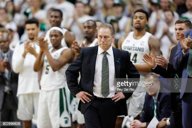 Head coach Tom Izzo of the Michigan State Spartans looks on during a game against the Illinois Fighting Illini at Breslin Center on February 20 2018...