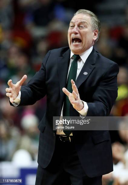 Head coach Tom Izzo of the Michigan State Spartans reacts against the Minnesota Golden Gophers during the second half in the second round game of the...
