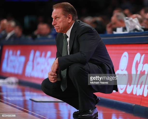 Head coach Tom Izzo of the Michigan State Spartans reacts against the Kentucky Wildcats in the second half during the State Farm Champions Classic at...