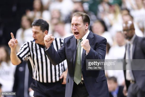 Head coach Tom Izzo of the Michigan State Spartans reacts during the game against the Wisconsin Badgers in the second half at the Breslin Center on...