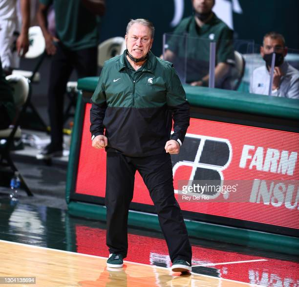 Head coach Tom Izzo of the Michigan State Spartans reacts in the second half of the game against the Ohio State Buckeyes at Breslin Center on...