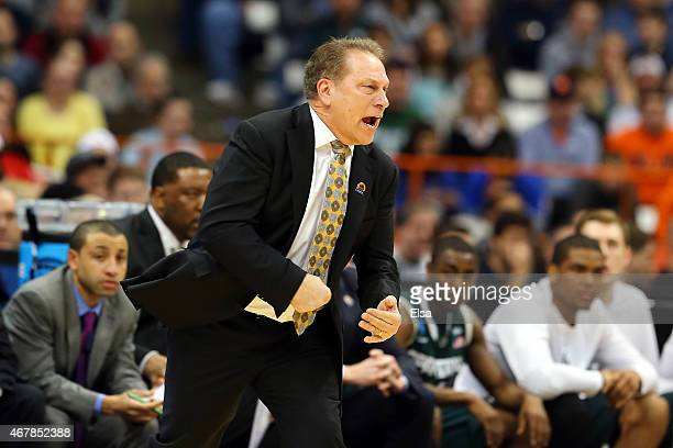 Head coach Tom Izzo of the Michigan State Spartans reacts in the first half of the game against the Oklahoma Sooners during the East Regional...