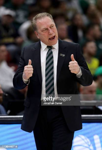 Head coach Tom Izzo of the Michigan State Spartans reacts in the first half against the Michigan Wolverines during the championship game of the Big...