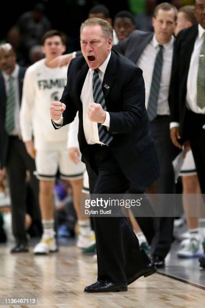 Head coach Tom Izzo of the Michigan State Spartans reacts in the second half against the Michigan Wolverines during the championship game of the Big...