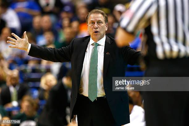 Head coach Tom Izzo of the Michigan State Spartans reacts in the second half against the Middle Tennessee Blue Raiders during the first round of the...