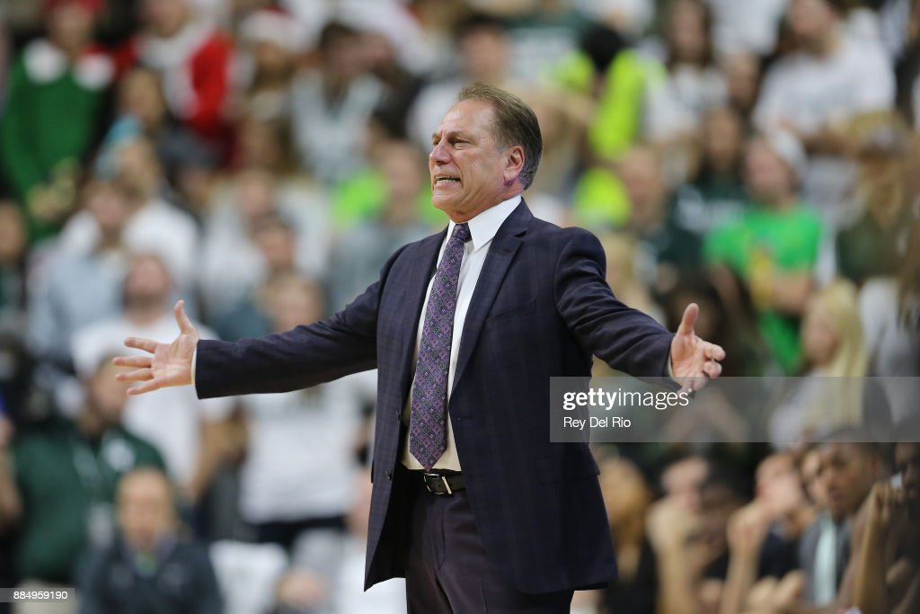 Head coach Tom Izzo of the Michigan State Spartans reacts on the sideline during the game against the Nebraska Cornhuskers at Breslin Center on December 3, 2017 in East Lansing, Michigan.