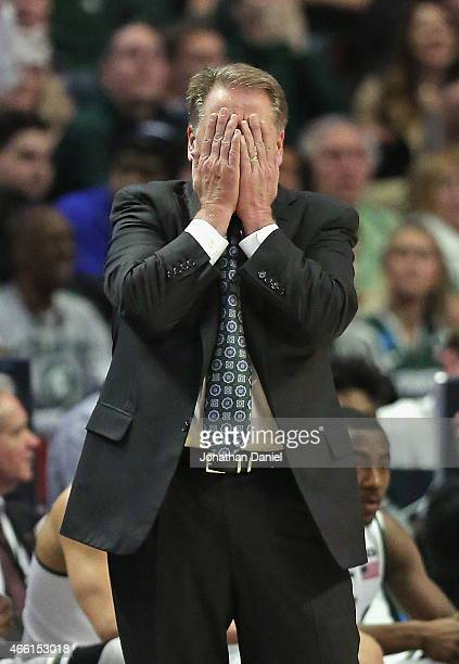 Head coach Tom Izzo of the Michigan State Spartans reacts to a referees call as his team takes on the Ohio State Buckeyes during the quarterfinal...