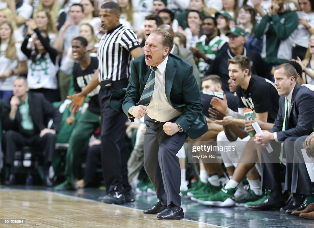 Head coach Tom Izzo of the Michigan State Spartans reacts to a play during a game against the Michigan Wolverines at Breslin Center on January 13, 2018 in East Lansing, Michigan.
