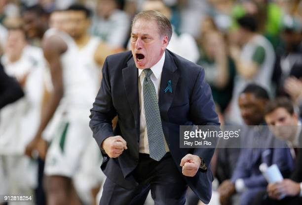 Head coach Tom Izzo of the Michigan State Spartans reacts to a play during a game against the Penn State Nittany Lions in the second half at Breslin...