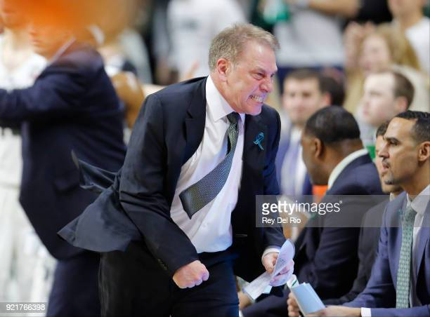 Head coach Tom Izzo of the Michigan State Spartans reacts to a play during a game against the Illinois Fighting Illini at Breslin Center on February...