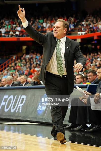 Head coach Tom Izzo of the Michigan State Spartans shouts in the first half of the game against the Louisville Cardinals during the East Regional...