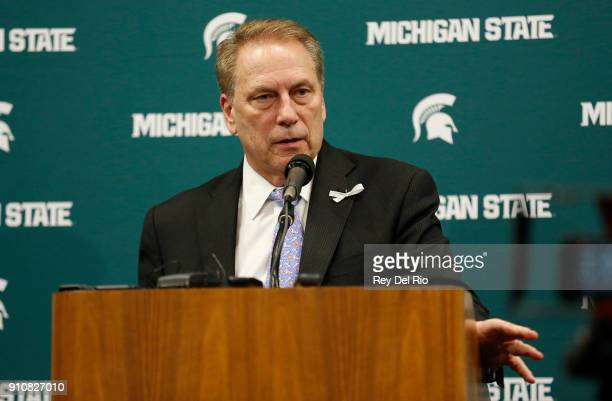 Head coach Tom Izzo of the Michigan State Spartans speaks to the media at a press conference after the Michigan State Spartans and Wisconsin Badgers...