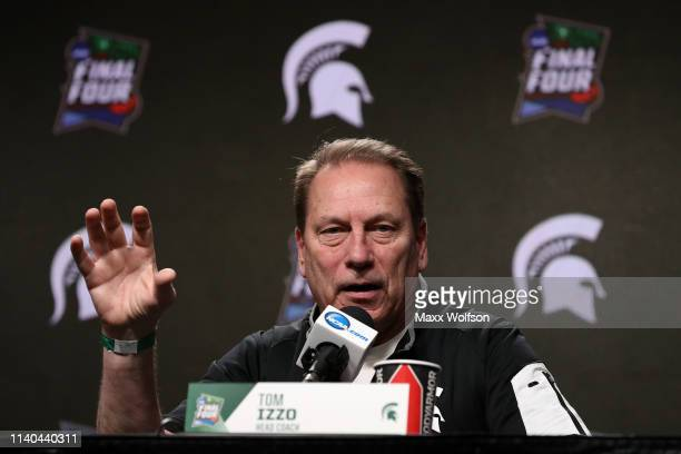 Head coach Tom Izzo of the Michigan State Spartans speaks to the media ahead of the Men's Final Four at US Bank Stadium on April 04 2019 in...