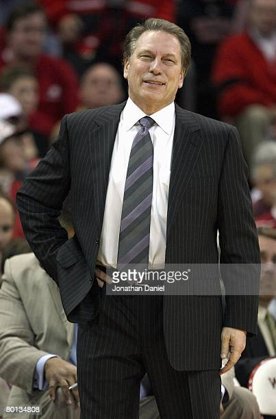 Head coach Tom Izzo of the Michigan State Spartans watches the action during a game against the Wisconsin Badgers on February 28 2008 at the Kohl...