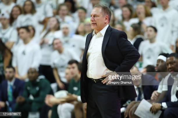 Head coach Tom Izzo of the Michigan State Spartans while playing the Ohio State Buckeyes at the Breslin Center on March 08, 2020 in East Lansing,...